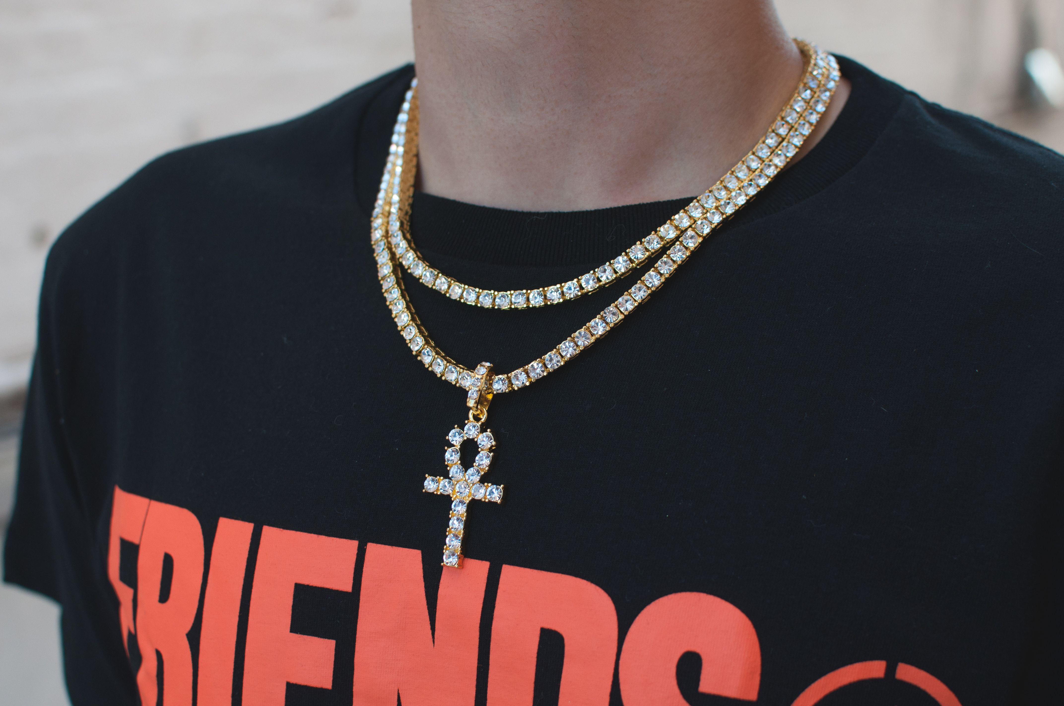 18k Gold Diamond Tennis Chain Bundle w Ankh jewelry gold ankh