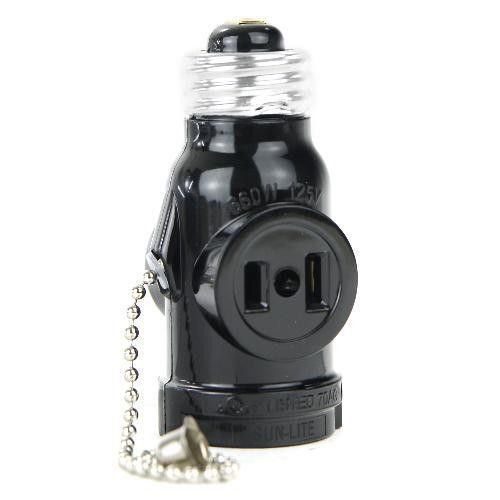 Sunlite Medium Base Socket Adapter With Pull Chain And Power