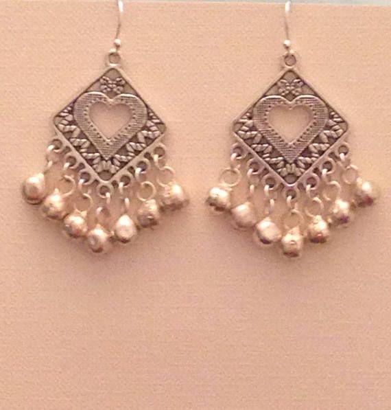 Silver Boho Earrings Chandelier Bell Bollywood Indian