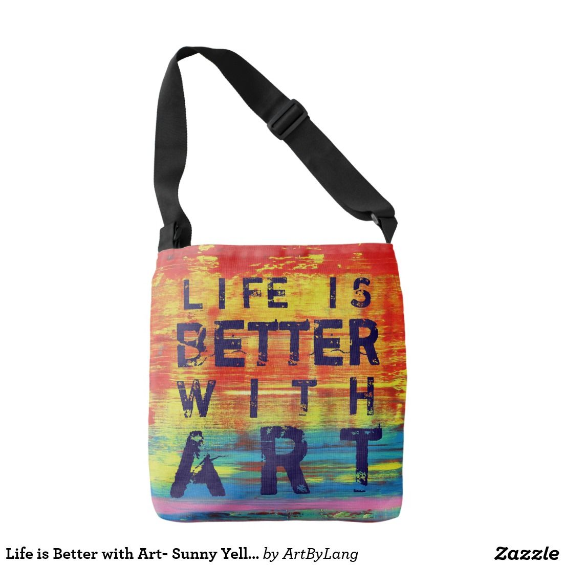 Life is Better with Art- Sunny Yellow Abstract Art Tote Bag