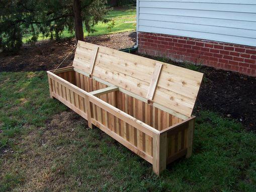 Custom Western Red Cedar Patio Storage Bench Outdoor Storage Bench Wood Bench Outdoor Patio Storage