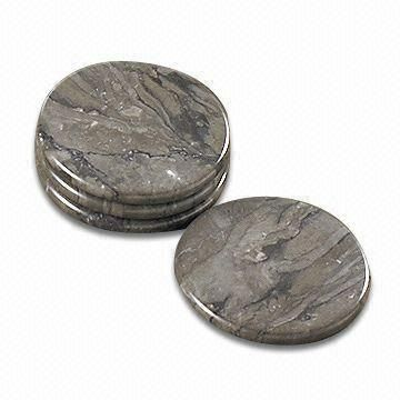 4-inch Charcoal Marble Coasters with Smooth, Polished Surface and Easy to clean Feature