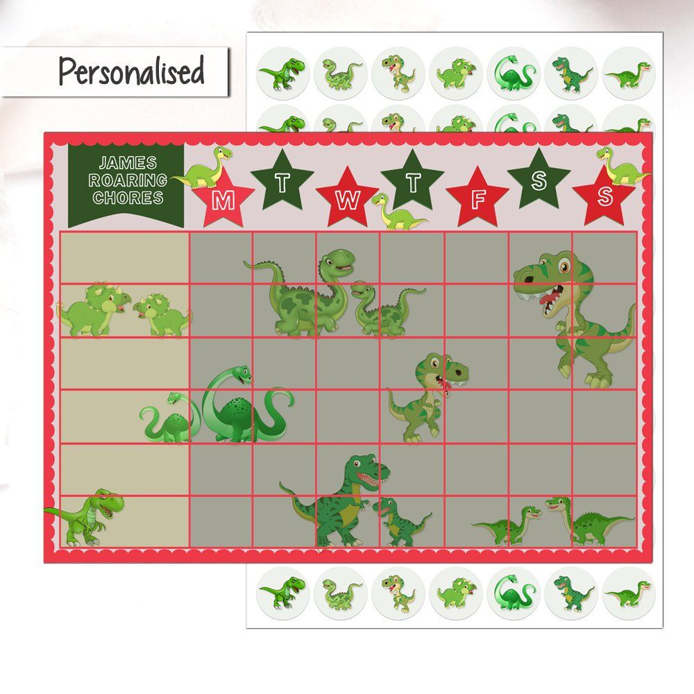 Boys Chore Chart with stickers, Dino, Dinosaur
