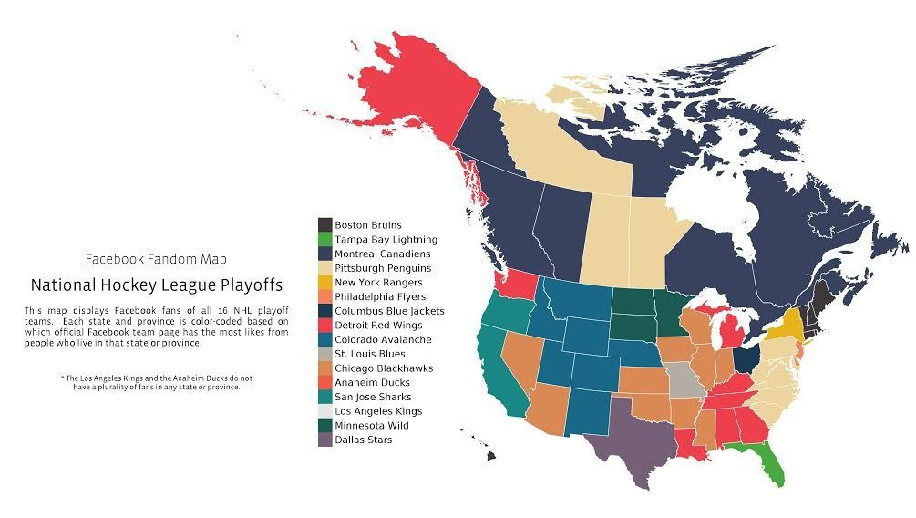 Stanley Cup Playoffs Facebook Map Shows Where Nhl Loyalties Lie Nhl Playoffs Nhl Pittsburgh Penguins Hockey