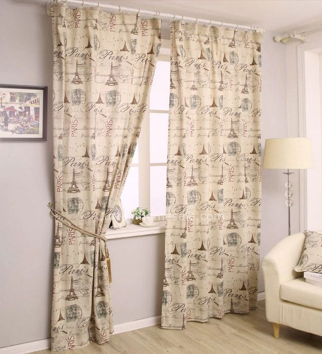 Vintage Inspired Curtains Of Patterned Toile Yellow