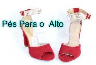 Sandália Vermelha c/ Strasse / jahsaude