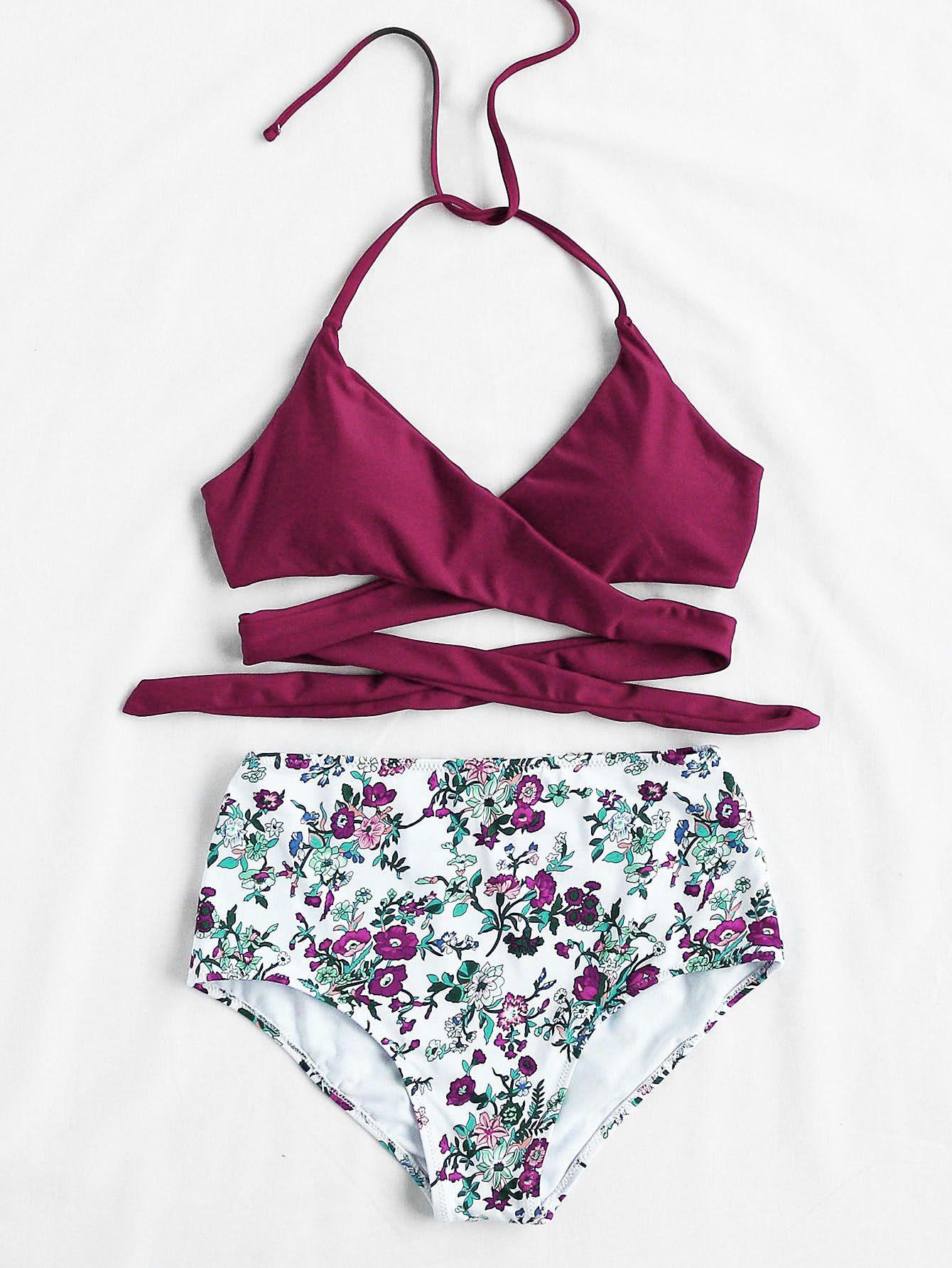ee7e852c8 Shein Calico Print High Waist Wrap Bikini Set in 2019 | Fashion ...