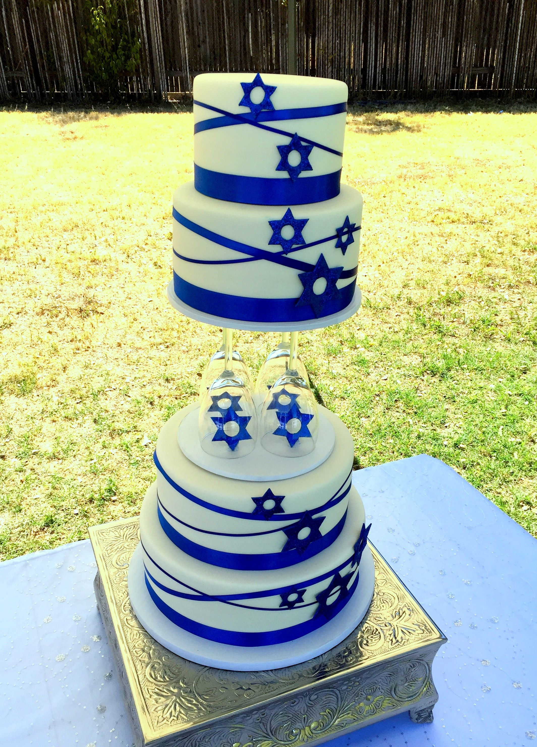 Jewish wedding cake. Royal blue and white. | Wedding Cakes ...