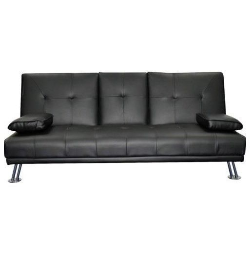 3 Seater Black Leather Sofa Bed Recliner Modern Design Furniture