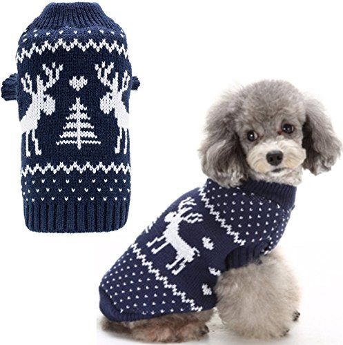 Medium Dog Puppy Christmas Sweaters Cute Reindeer Navy Blue ...