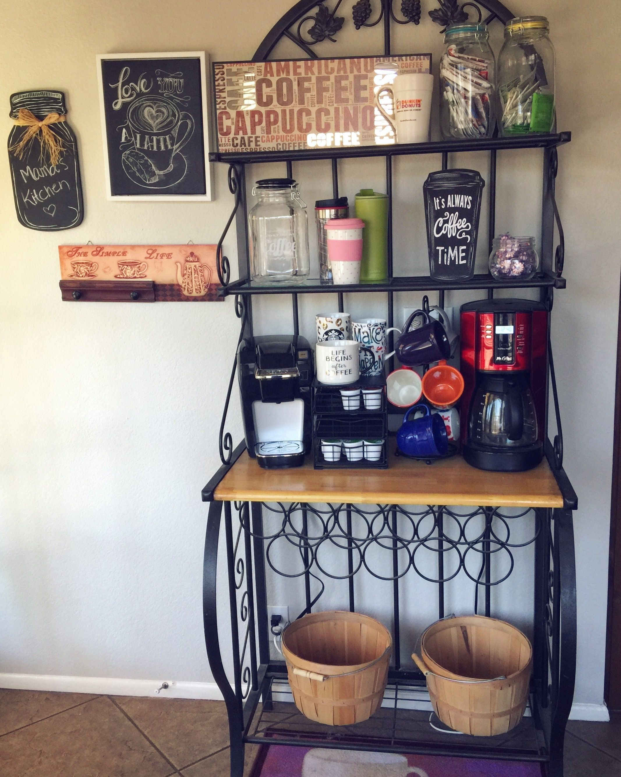 Bakers rack coffee bar idea 1000 in 2020 coffee bar