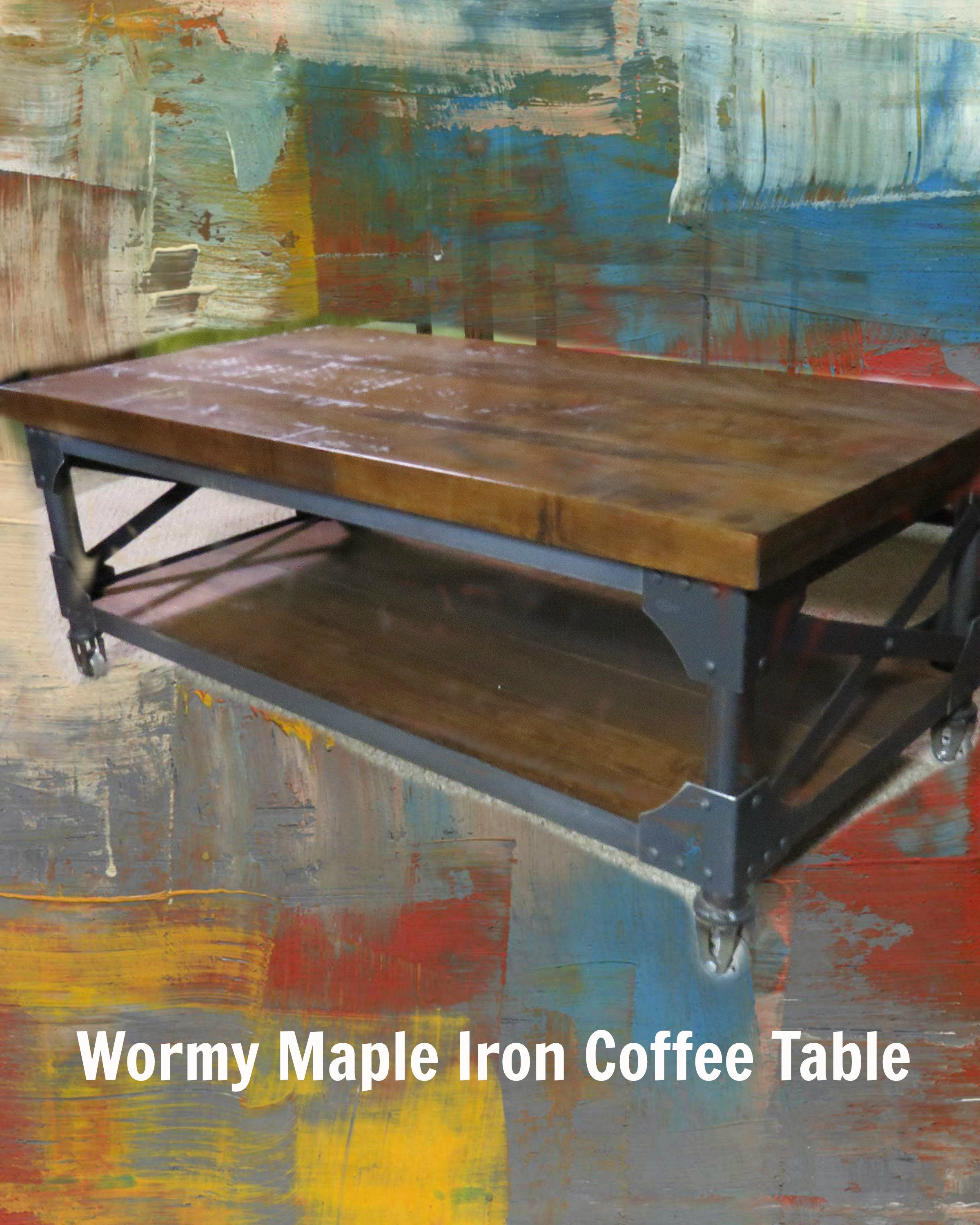 Wormy Maple Coffee Table with Iron Accents Sale now and ready