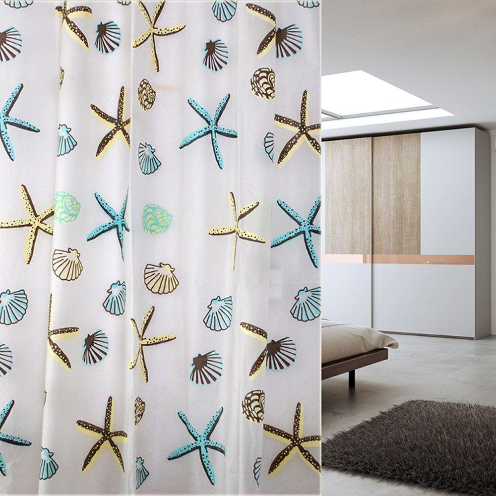 Shell Starfish Bathroom Waterproof Mildew Proof Shower 180cm*180/200cm Curtain With Curtain Hooks Rings