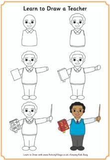 Learn To Draw A Teacher Male Learning To Draw For Kids Drawing For Kids Children Sketch