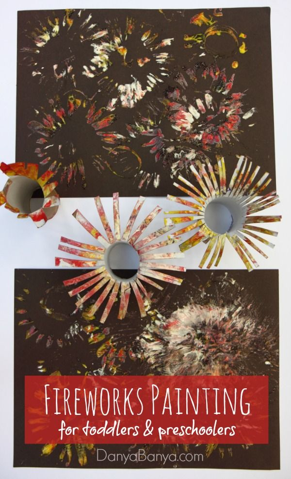 Easy Fireworks Painting for Kids | Firework painting ...