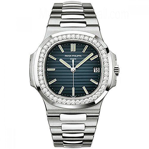 Patek Philippe Nautilus White Gold Watch with Diamond Bezel
