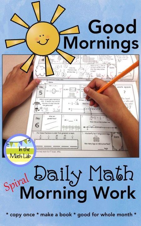 3rd Grade Morning Work Spiral Math - September   Pinterest