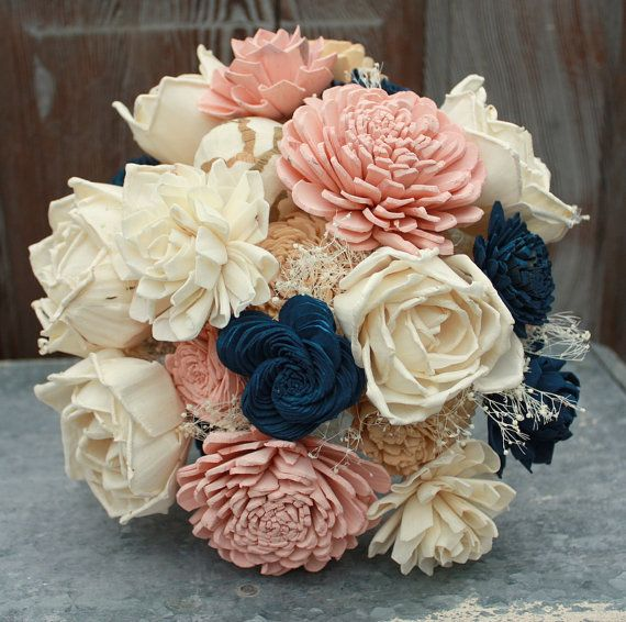 Sola Flower Bouquet Brides Wedding Champagne Navy Blue And Blush Pink Flowers Na