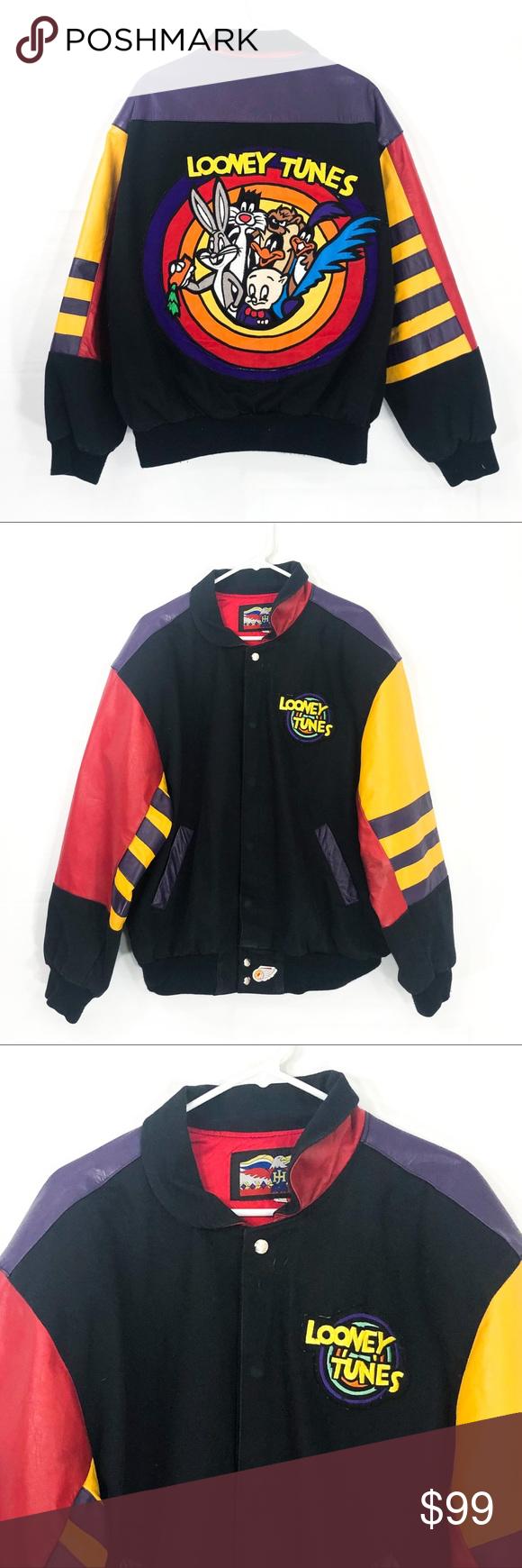 Vintage 1992 Looney Tunes Leather Jacket Jackets Leather Jacket Clothes Design