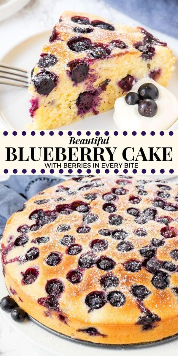 Blueberry Cake Moist Tender Filled With So Many Blueberries Recipe Blueberry Recipes Blueberry Cake Recipes Easy Blueberry