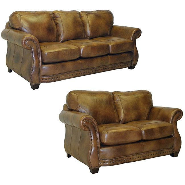 the sterling cognac brown italian leather sofa and loveseat are