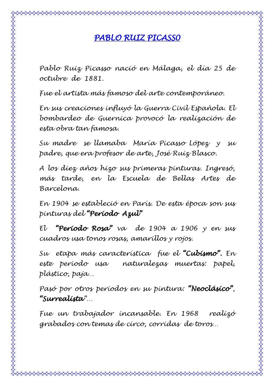 Biografia De Pablo Picasso Con Imagenes Picasso Dia De La Paz