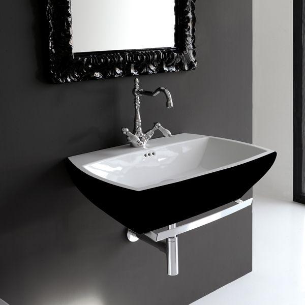 Lavabo suspendu 70x48 cm céramique noire blanche ArtCeram