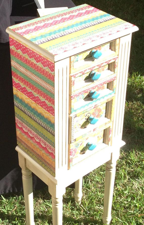 MultiColor Repurposed Jewelry Armoire Custom Made To Order on Etsy