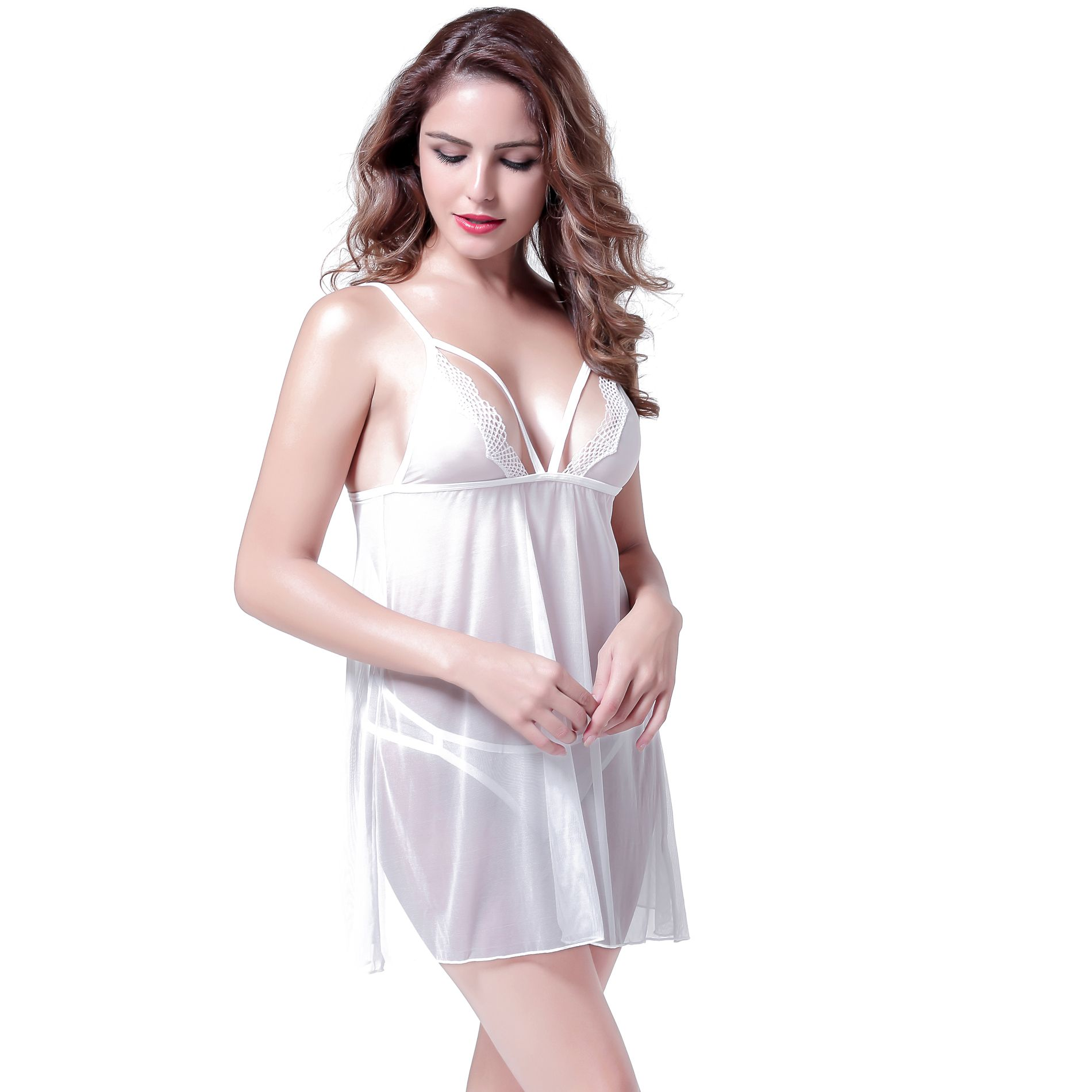 107905ea6 Anyou Sexy Lingerie Babydoll Dress V Neck Transparent Mesh Women Sleepwear  Nightgown White M - Walmart.com
