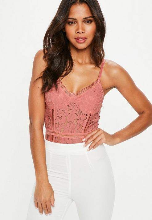 a957298313f09 Missguided - Pink Cornelli Lace Halterneck Crop Top