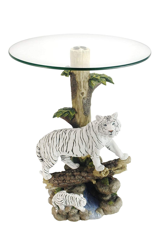 Ok Lighting Ok 0732n Animal Sculpture End Table 24 H Glass Top Color Sculpture End Table Tiger End Tables Geometric Side Table Side Table [ 1500 x 999 Pixel ]