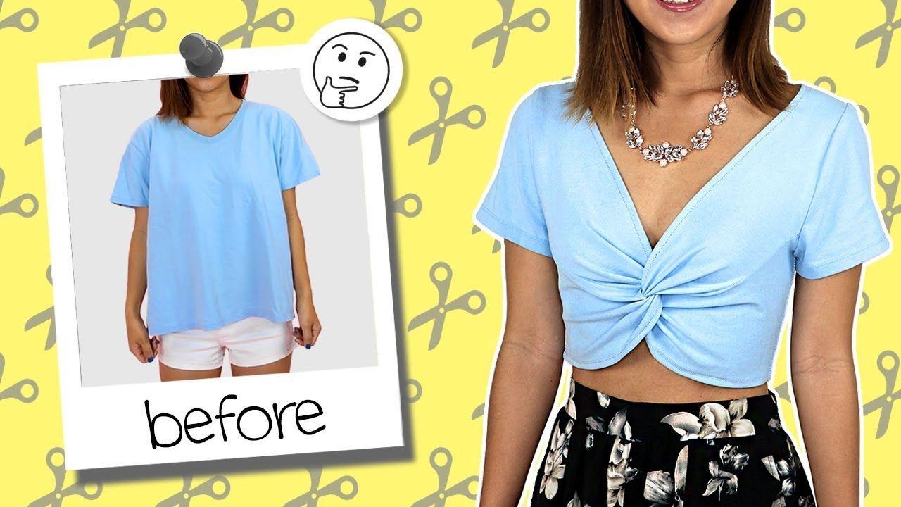 Diy T Shirt Transformed Into Twisted Crop Top Coolirpa T Shirt Diy Diy Clothes Diy Fashion Clothing