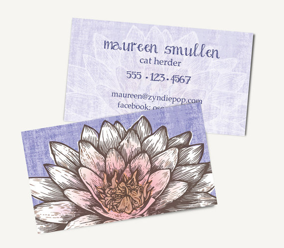 Printed White Lotus Flower Business Cards Yoga Massage Spiritual
