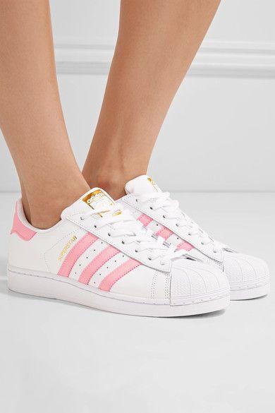 Examinar detenidamente Preceder Crueldad  White Superstar leather sneakers | adidas Originals | Adidas shoes originals,  Leather sneakers, Sneakers