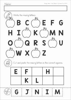 missing alphabet letters cut and paste school theme september apples alphabet school. Black Bedroom Furniture Sets. Home Design Ideas