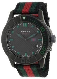 Gucci Men s YA126229 G-Timeless Dive Black Dial Nylon Strap Watch ... ae96880206