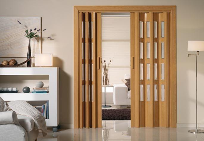 Puerta de apertura central con cierre magn tico puertas ventanas persianas claraboyas doors - Puertas de acordeon de madera ...