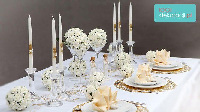 Dekoracje Sal I Stolow Restauracji 15 Przykladow Dekoracji Stolu Na Komunie Tiered Cake Stand Tiered Cakes Candles