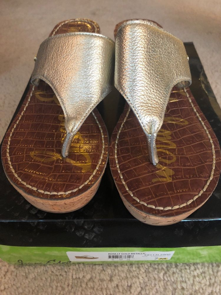 84704d2c17c0 Sam Edelman Romy Womens Silver Platform Wedge Summer Sandals US 7 M Shoes  61D  fashion
