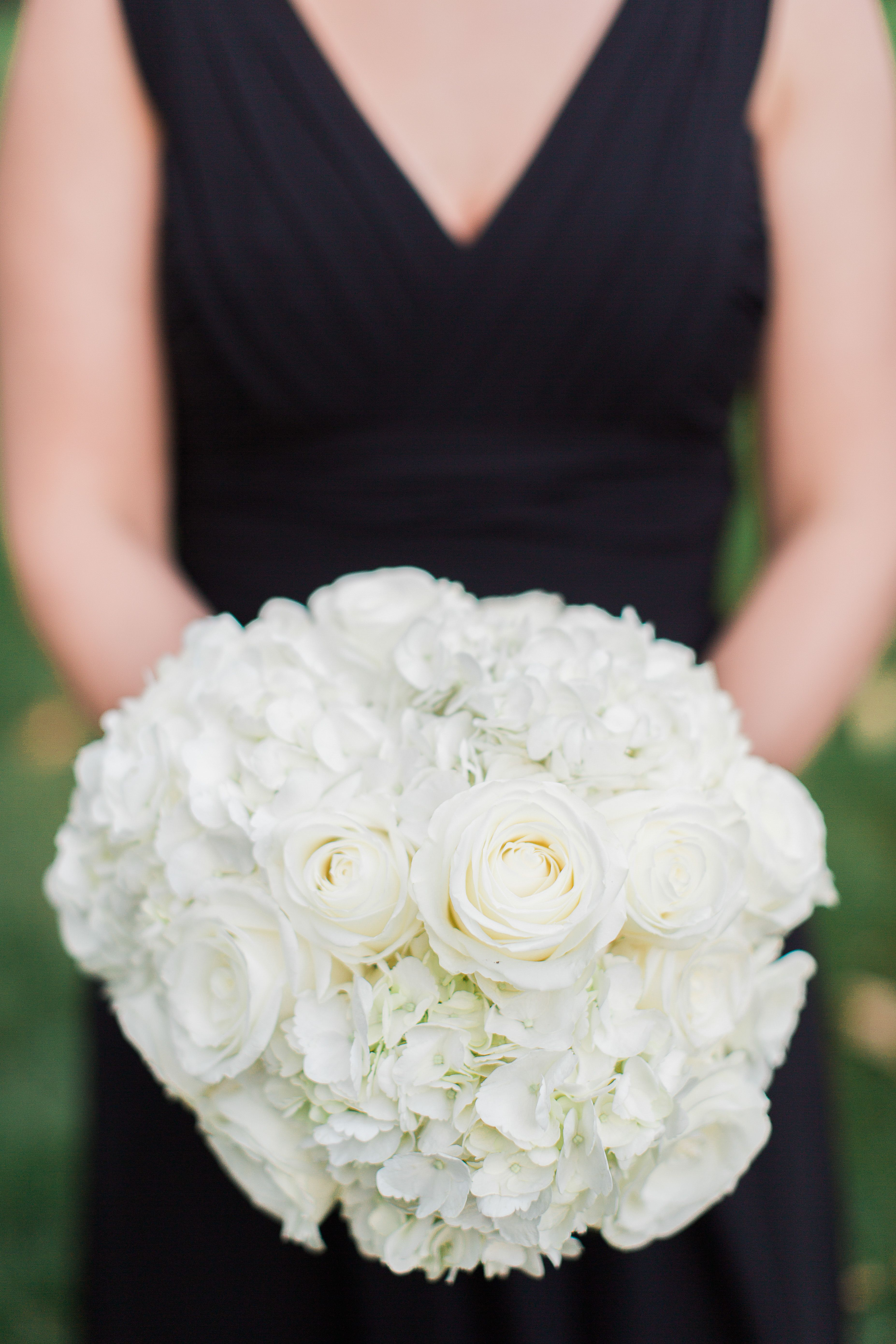 Classic white rose hydrangea bridesmaid bouquet