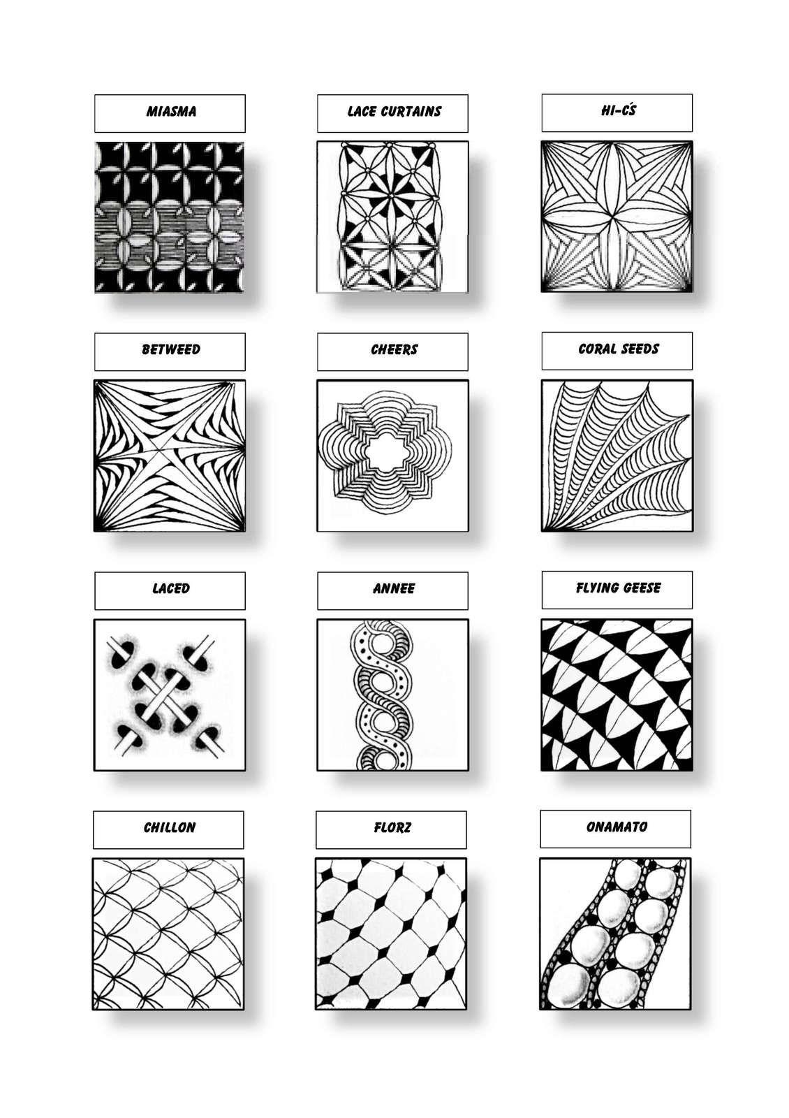Cofono Czt Certified Zentangle Teacher Mustersammlung Zentangle Patterns Zentangle Tangle Patterns