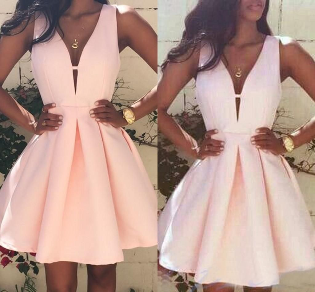 Pink Homecoming Dresses V-neck Cocktail Graduation Gowns on ...
