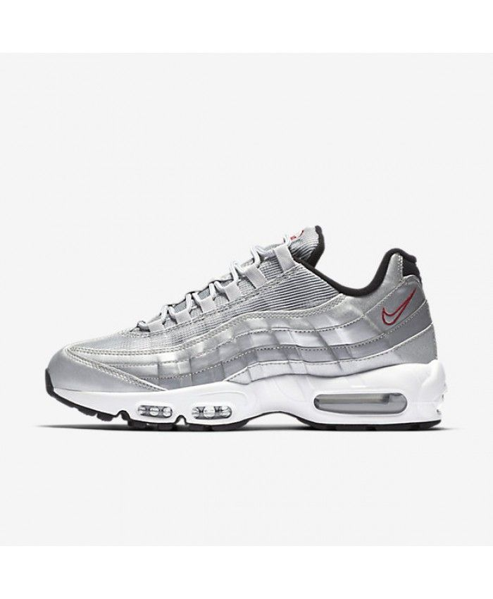 02cf3767e Nike Air Max 95 Premium QS Metallic Silver Black White Varsity Red Mens Shoe