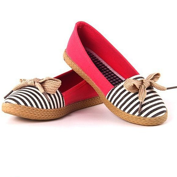 Unisex Free shipping new 2014 ballet flats sapatilhas flats alpargatas loafers casual Stripe classic canvas shoes bowtie flats-in Flats from Shoes on Aliexpress.com   Alibaba Group