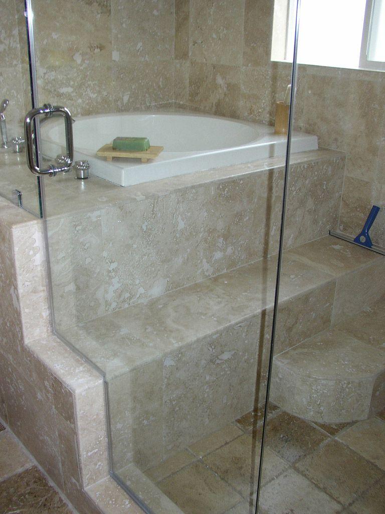 Bath under window ideas  travertine tile bathrooms ideas with glass door shower room divider