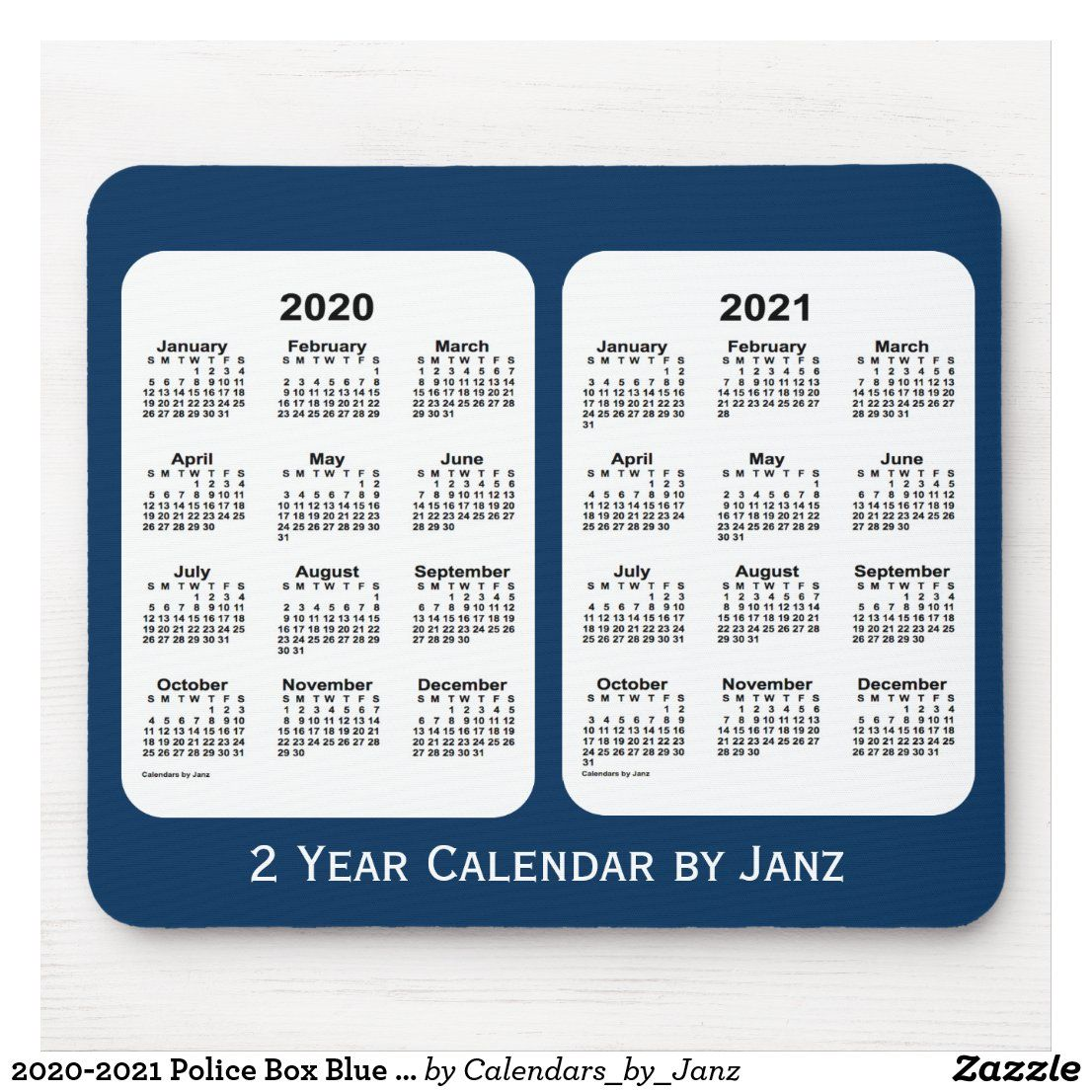 20202021 Police Box Blue 2 Year Calendar by Janz Mouse
