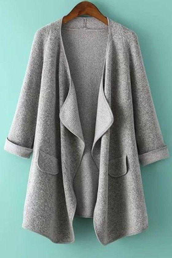 Light Grey Plain Pockets Irregular Hem Long Sleeve Turndown Collar Loose Fashion Knit Coat
