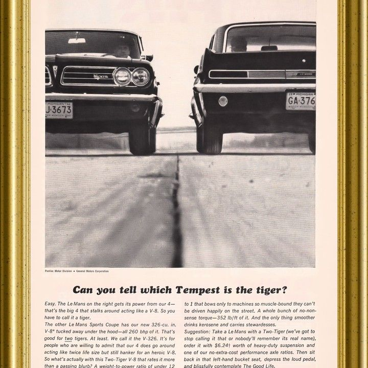 1963 Pontiac Tempest 326 Which is the Tiger Vintage Ad from West ...