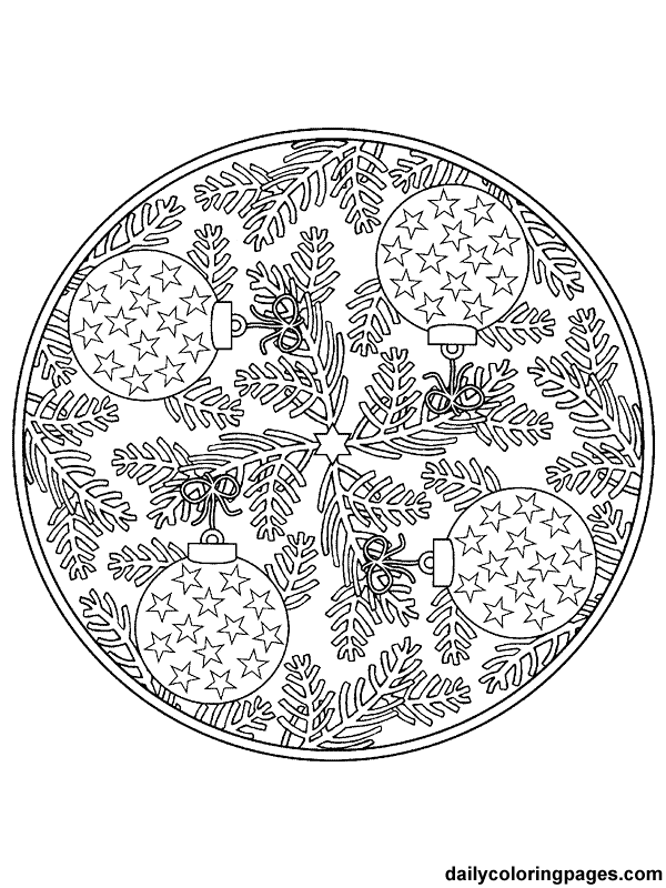 detailed christmas coloring pages mandala christmas ornaments coloring pages 010 adult and