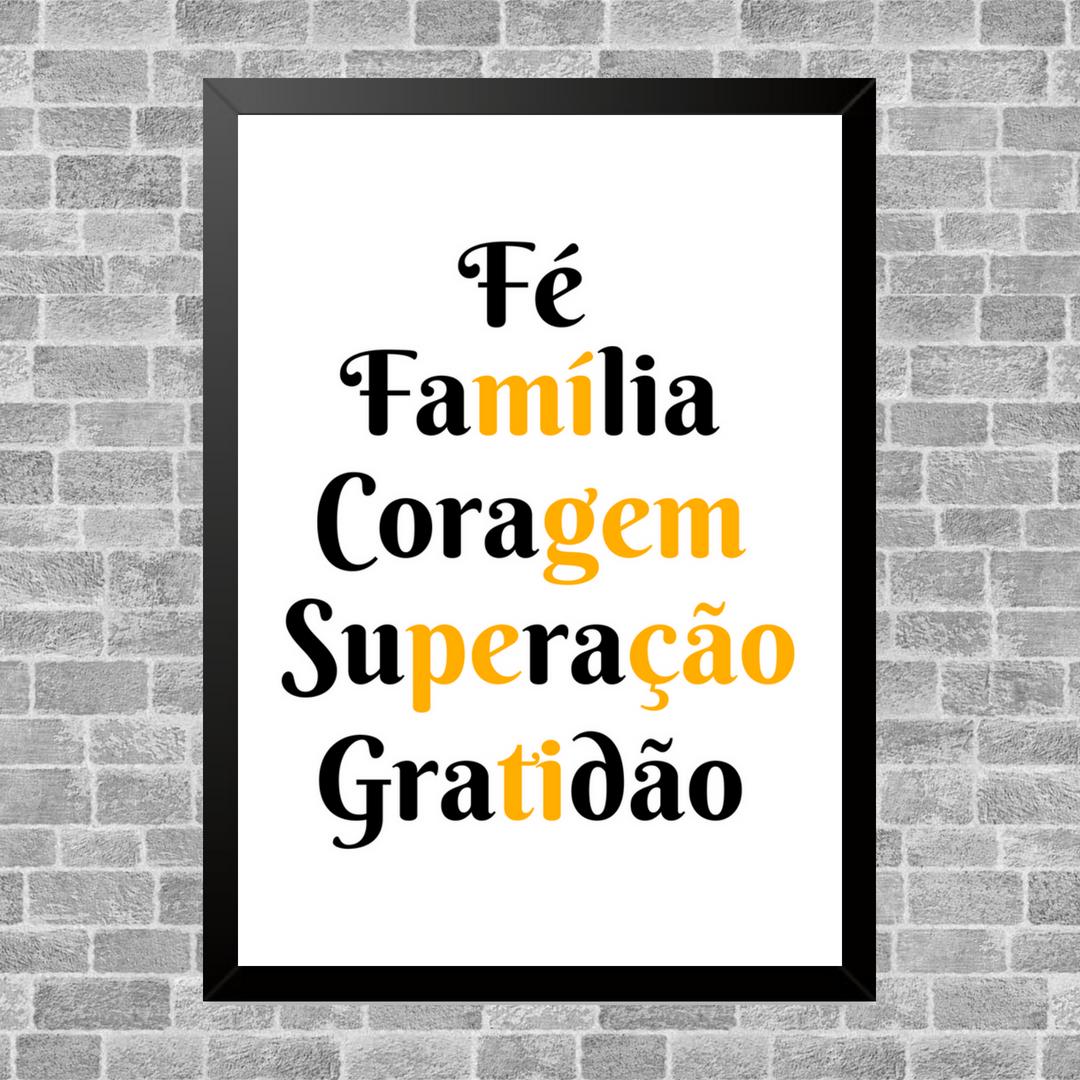 Quadro Decorativo Fé Família Coragem Superação Gratidão Vila Dos